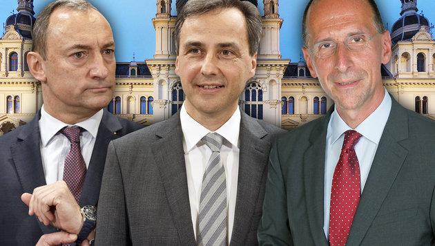 Peter Filzmaier sieht in Siegfried Nagl und Mario Eustacchio (v.r.n.l.) künftige Koalitionspartner. (Bild: APA/ERWIN SCHERIAU, Wikipedia, Martin A. Jöchl)