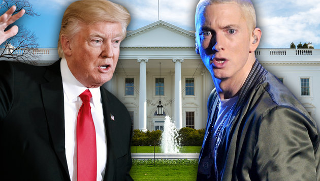 "Eminem will ""die Marke Trump zerstören"" (Bild: face to face, thinkstockphotos.de, AP/Evan Vucci)"