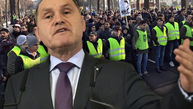 So sieht der Anti-Demo-Plan des Innenministers aus (Bild: APA/HANS PUNZ, krone.tv)