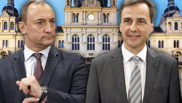 Mario Eustacchio (FPÖ) und Siegfried Nagl (ÖVP) (Bild: APA/ERWIN SCHERIAU, Wikipedia)