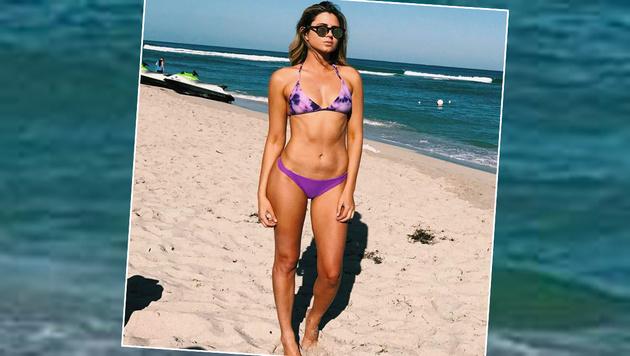 Wow! Surferin Anastasia Ashley präsentiert am Strand ihre Traumfigur. (Bild: facebook.com)
