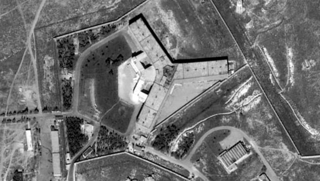 Satellitenaufnahme des berüchtigten Militärgefängnisses Saidnaya bei Damaskus (Bild: Amnesty International)