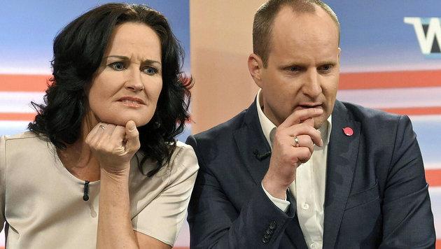 Künftige SPÖ-Regierungspartner? Grünen-Chefin Eva Glawischnig und NEOS-Obmann Matthias Strolz (Bild: APA/HELMUT FOHRINGER)