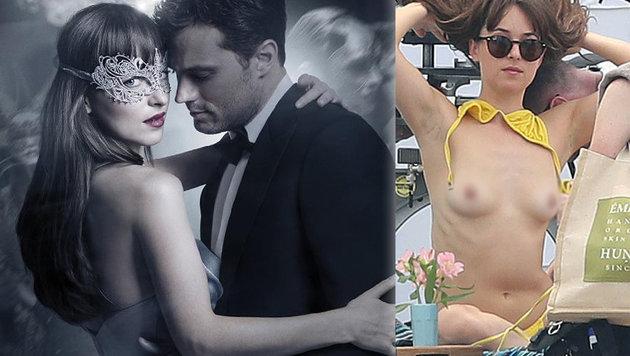 """Dakota Johnson in """"Fifty Shades Darker"""" (l.) und bei den Dreharbeiten (r.) (Bild: Viennareport, face to face)"""