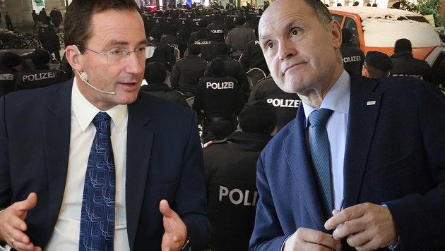 Jetzt bekommt Sobotka Rückendeckung von Polizei (Bild: Peter Tomschi, APA/HANS KLAUS TECHT, krone.tv)