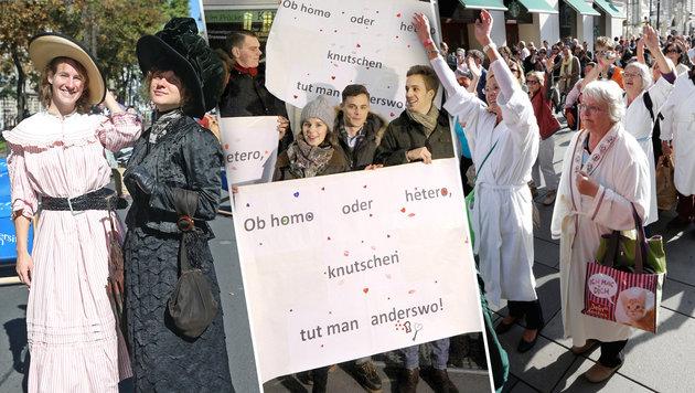 Macht endlich Schluss mit den Spaß-Demos! (Bild: APA/HERBERT PFARRHOFER, Klemens Groh, Peter Tomschi)