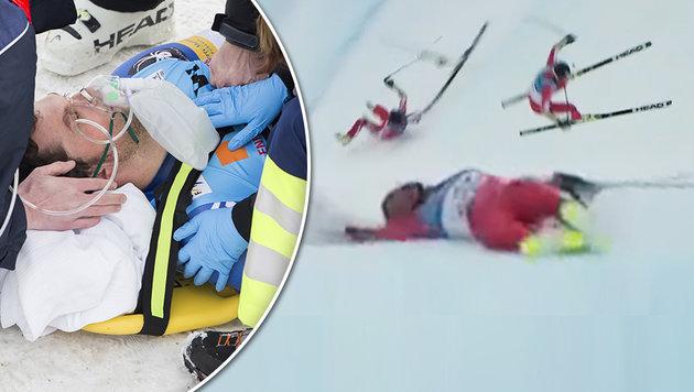 Ski-Exote schockt im Super-G mit Horror-Sturz! (Bild: AP)