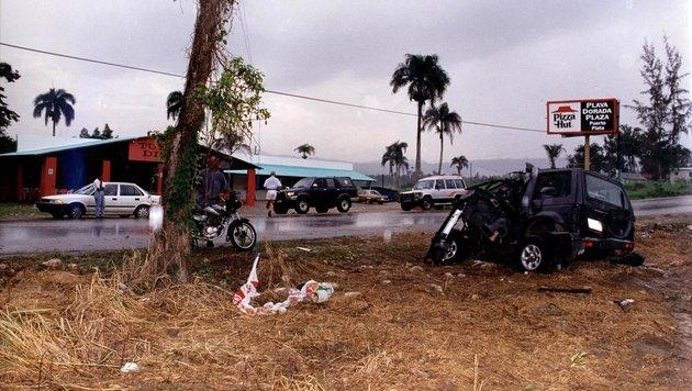 Der Jeep, in dem Austropop-Star Falco in Puerta Plata (Dominikanische Republik) starb (Bild: APA/MERLIN)