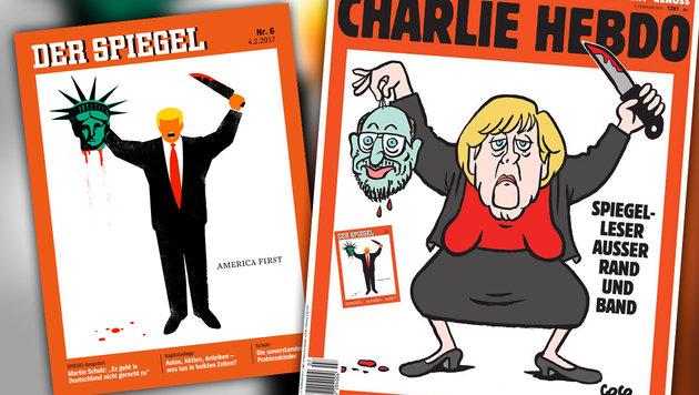 """""""Charlie Hebdo"""" zeigt Solidarität mit """"Spiegel"""" (Bild: facebook.com/Charlie Hebdo, facebook.com/DerSpiegel)"""