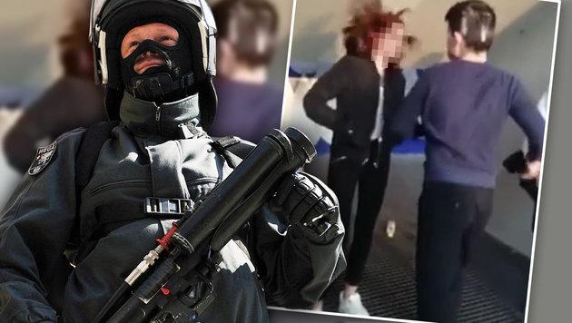 Prügel-Tschetschene von WEGA-Beamten festgenommen (Bild: facebook.com, APA/HELMUT FOHRINGER)