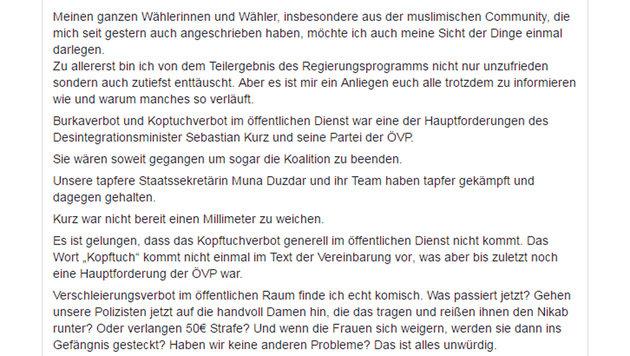 Jetzt spaltet auch das Burka-Verbot Wiens SPÖ (Bild: facebook.com)