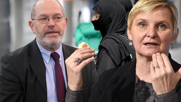 Jetzt spaltet auch das Burka-Verbot Wiens SPÖ (Bild: Andi Schiel, APA/ROLAND SCHLAGER, APA/HELMUT FOHRINGER)