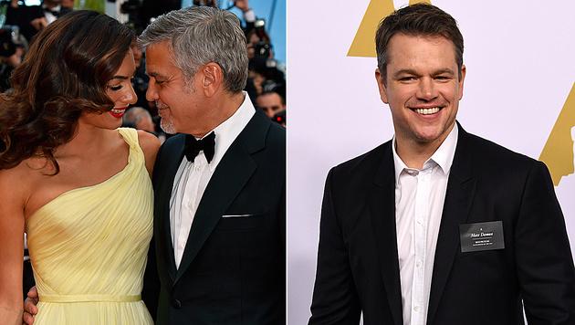 Matt Damon freut sich für George Clooney und seine Amal. (Bild: AFP)