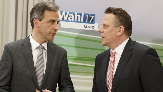 Siegfried Nagl (ÖVP) und Michael Ehmann (SPÖ) nach der Graz-Wahl (Bild: APA/ERWIN SCHERIAU)