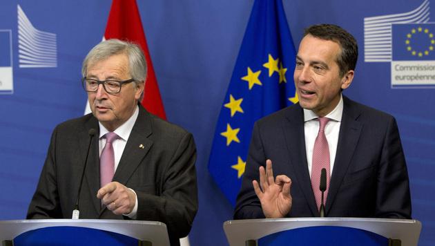 Jean-Claude Juncker und Christian Kern (Bild: AP)