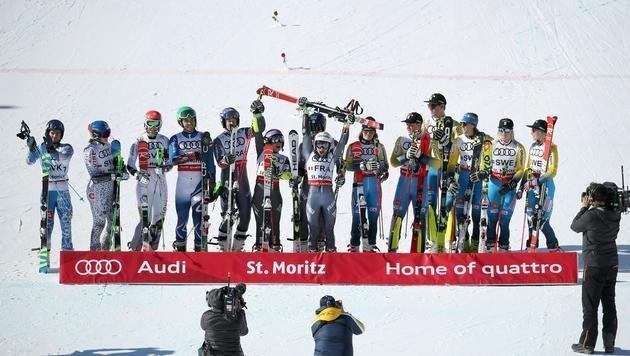 Das Siegespodest mit Frankreich (Gold), Slowakei (Silber) und Schweden (Bronze) (Bild: APA/EXPA/HANS GRODER)