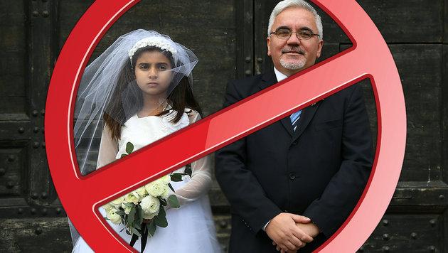 Ein Mann und ein zehnjähriges Mädchen bei einer Aktion von Amnesty International gegen Kinderehen (Bild: APA/AFP/GABRIEL BOUYS, thinkstockphotos.de)