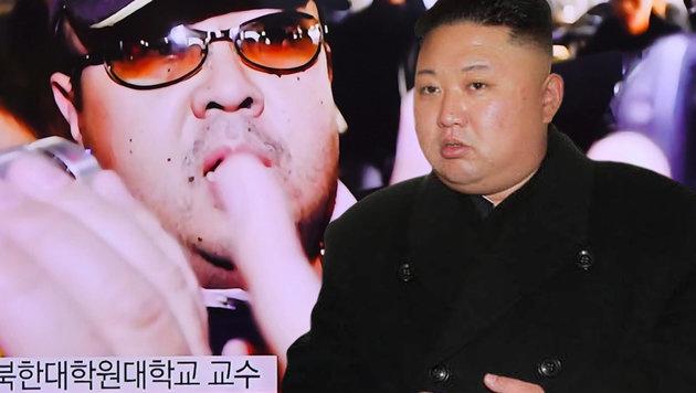 Kim Jong Nam (li.) und sein Halbbruder, Nordkoreas Machthaber Kim Jong Un (Bild: AFP)