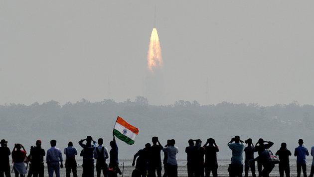 Indien schickte 104 Satelliten auf einmal ins All (Bild: AFP/Arun Sankar)