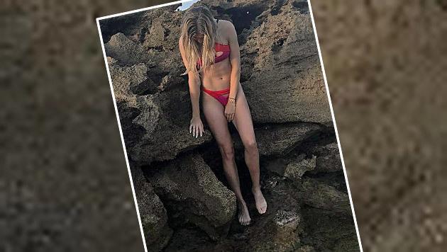 Na, erkannt? Tennis-Beauty Genie Bouchard zeigt hier ihren austrainierten Body im Bikini. (Bild: Instagram)