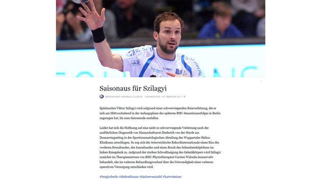 Kreuzbandriss! Nun fixes Karriere-Aus für Szilagyi (Bild: Facebook.com/BergischerHC (Screenshot))