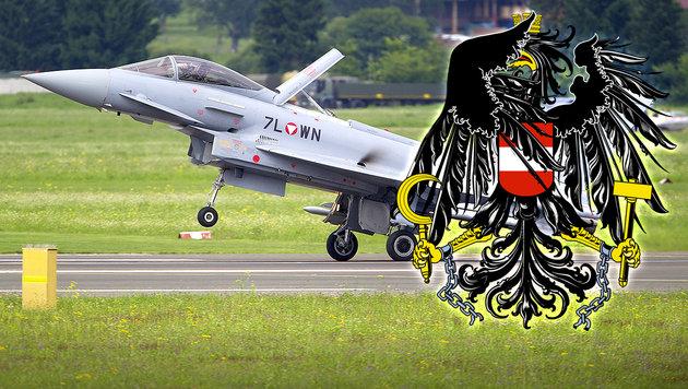 """Die peinlichsten Pannen der """"Ära"""" Eurofighter (Bild: APA/Erwin Scheriau, krone.at-Grafik)"""