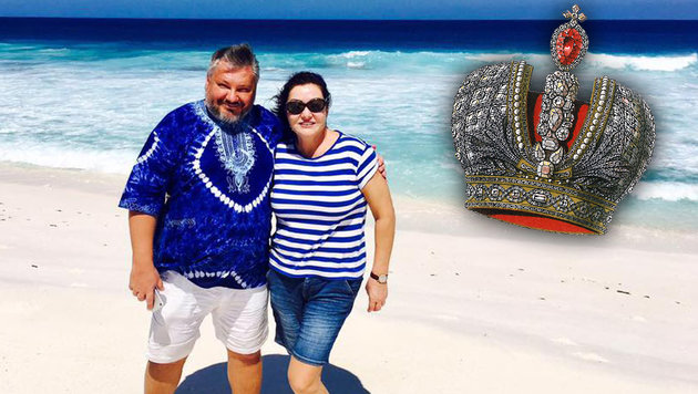 Der russische Millionär Anton Bakow mit seiner Ehefrau Marina (Bild: facebook, wikipedia)
