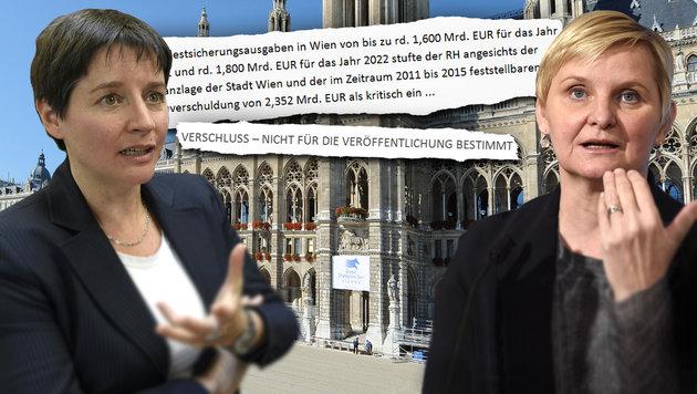 Unter Beschuss: Sozialstadträtin Sandra Frauenberger (re.) und ihre Vorgängerin Sonja Wehsely (Bild: thinkstockphotos.de, APA/Helmut Fohringer, krone.at-Grafik)
