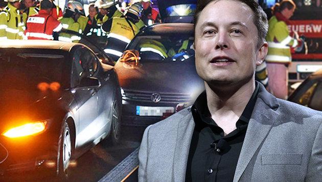 Tesla-Chef Elon Musk zahlt dem deutschen Lebensretter die Repartur seines Teslas. (Bild: AFP/KEVORK DJANSEZIAN, Feuerwehr München)