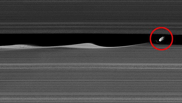 Der Saturnmond Daphne in einem Spalt des A-Rings (Bild: NASA/JPL-Caltech/Space Science Institute)