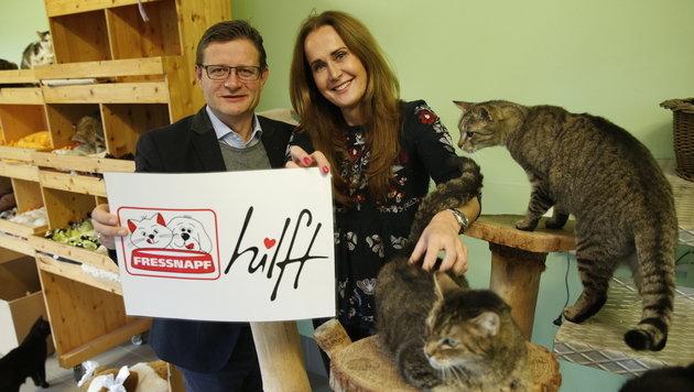 """Hermann Aigner und Maggie Entenfellner im """"Krone Tierecke""""-Katzenhaus (Bild: Reinhard Holl)"""