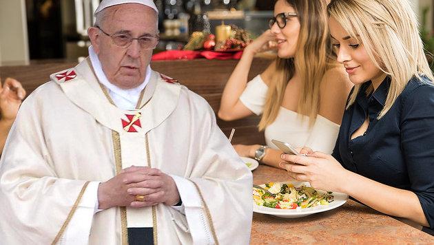 Papst Franziskus fordert: Handy weg beim Essen! (Bild: EPA, thinkstockphotos.de)