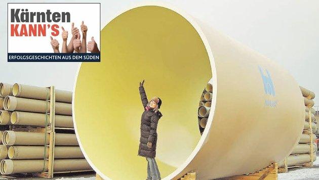 Hobas-Rohre mit drei Meter Durchmesser werden bei der Kraftwerkserneuerung in Spittal gebraucht (Bild: Hobas/Kärntner Krone)