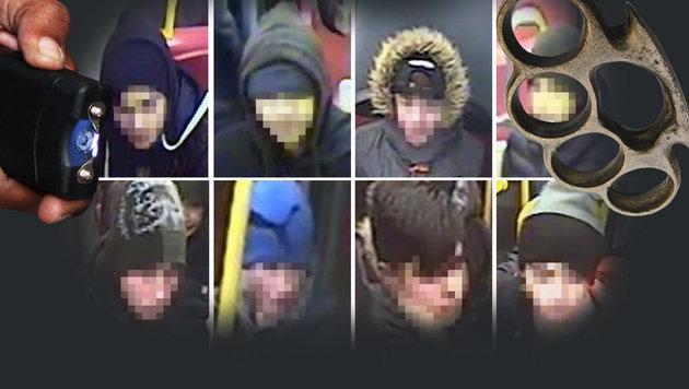 Bewaffnete Jugendgang attackiert Opfer in Bussen (Bild: BPD Wien)