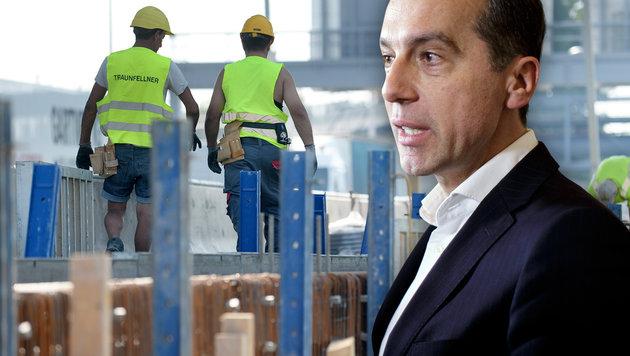 Kern zieht Notbremse gegen neue Ost-Arbeiter (Bild: APA/ROLAND SCHLAGER, APA/GEORG HOCHMUTH)