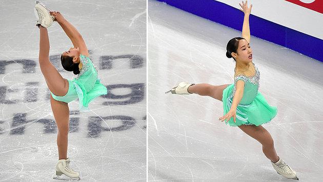 Die Japanerin Mai Mihara versteht es, ihren Körper auf dem Eis kunstvoll & ästhetisch zu verdrehen. (Bild: AFP)