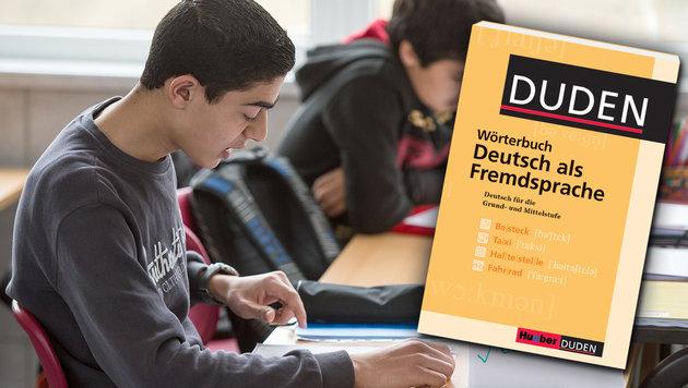 Deutschkurse so teuer wie Semester an Elite-Uni (Bild: APA/dpa/Patrick Pleul, Duden, krone.at-Grafik (Symbolbild))
