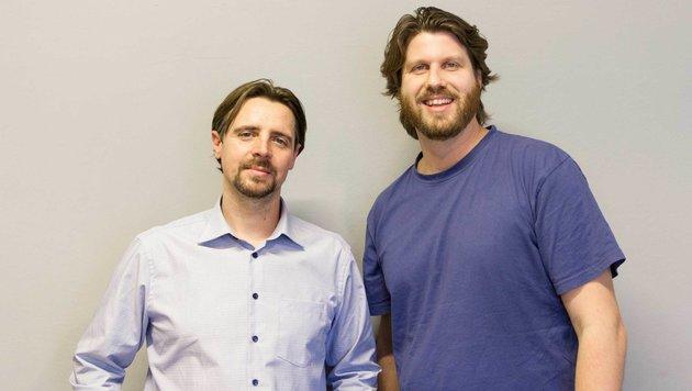 Per Handy-App zu knackigem Gemüse: Stefan Summesberger (re.) und Jürgen Herler habenâ019s erfunden. (Bild: Julia Stadlmann)