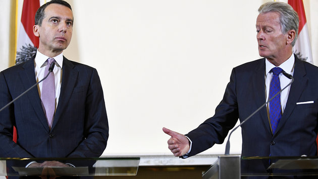 Kern und Mitterlehner nach dem Ministerrat (Bild: APA/ROBERT JAEGER)