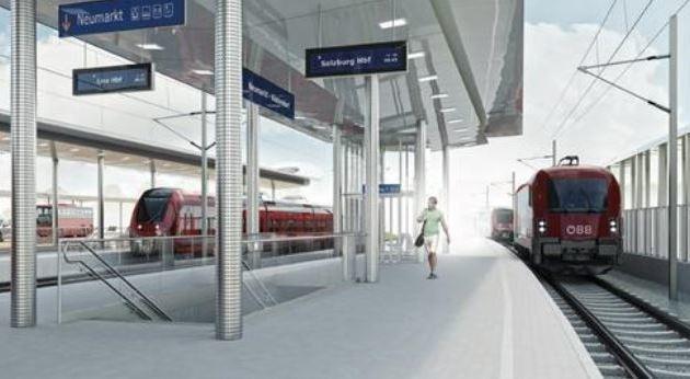 So soll der neue Bahnhof in Neumarkt aussehen: Railjets halten (Bild: ÖBB)
