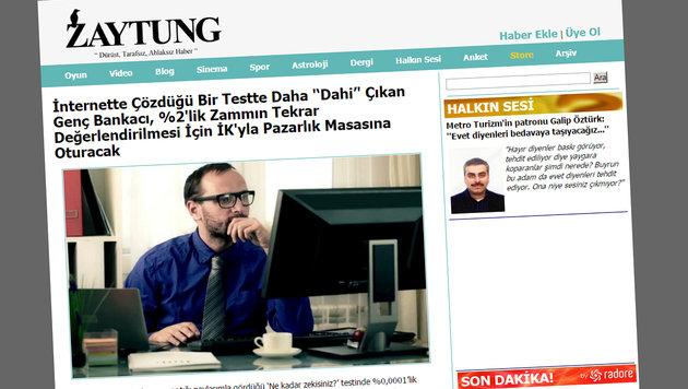 """Tippen gegen Erdogan: Die """"türkische Tagespresse"""" (Bild: zaytung.com)"""