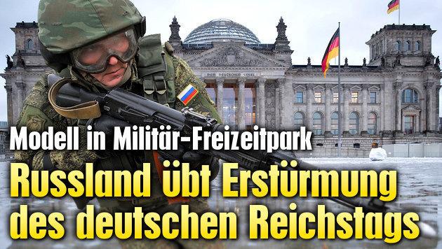 Russland übt Erstürmung des deutschen Reichstags (Bild: AP, AFP)