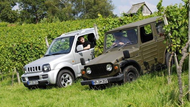 Suzuki LJ 20 (1972) trifft auf den Nachfahren Jimny (ab 1998, links) (Bild: Suzuki)
