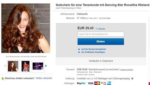 """""""Dancing Star wird auf Ebay versteigert! (Bild: Ebay.at)"""""""