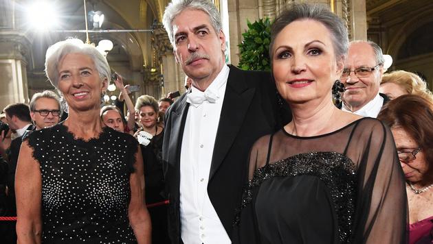 Christine Lagarde, Hans Jörg Schelling mit Ehefrau Ursula (Bild: APA/HELMUT FOHRINGER)