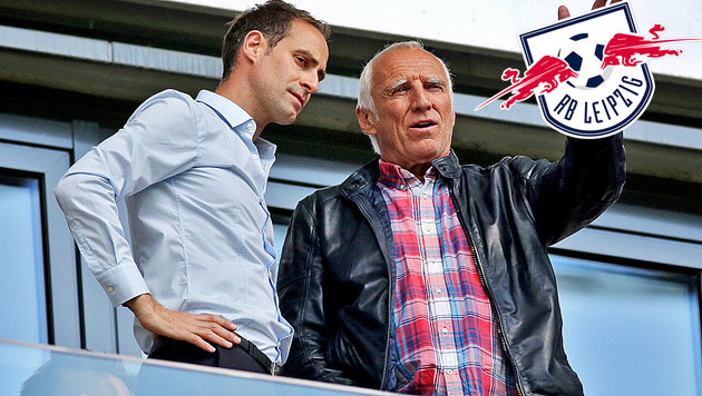 Oliver Mintzlaff mit Red-Bull-Boss Didi Mateschitz (Bild: APA/dpa-Zentralbild/Jan Woitas)