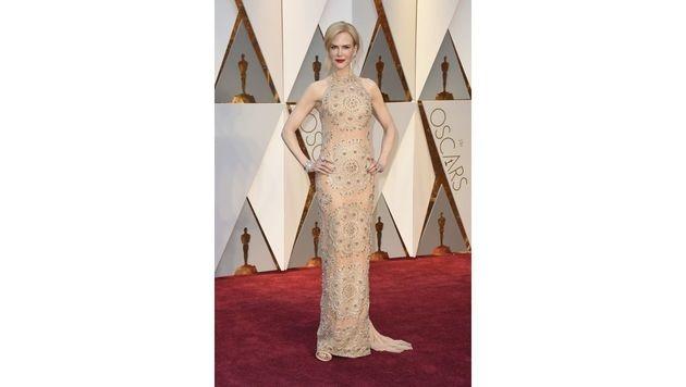 Nicole Kidman wirkte in ihrer nudefarbigen Robe von Armani Privé etwas farblos. (Bild: Jordan Strauss/Invision/AP)
