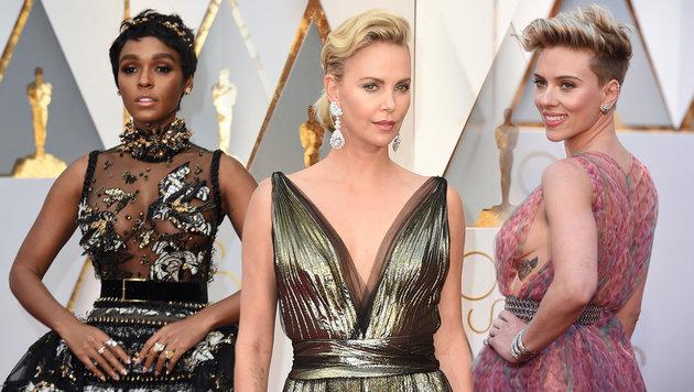 Die Promi-Ladys ließen bei den Oscars tief blicken (Bild: AFP/VALERIE MACON, Hahn Lionel/ABACA USA, AP)