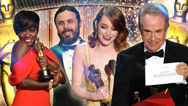 Die Sieger der Oscarnacht und ein verwirrter Warren Beatty (Bild: AFP/MARK RALSTON, AFP/VALERIE MACON, AFP, AP, thinkstockphotos)