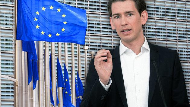 Kurz: Neue Zahlungen an EU müssen gestoppt werden (Bild: AFP/JOHN THYS, APA/GEORG HOCHMUTH)